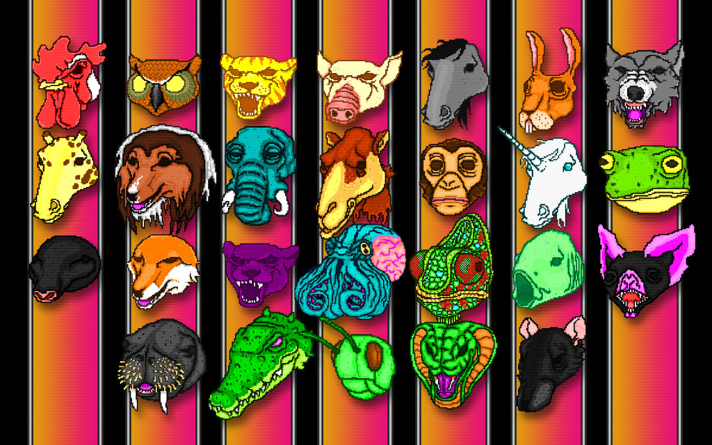 hotline miami masks wallpaper by dan the gir man-d5leujy